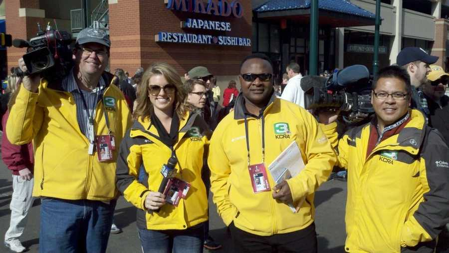Kellie and Del with KCRA photographers Tom O'Hair and Brian Fong.