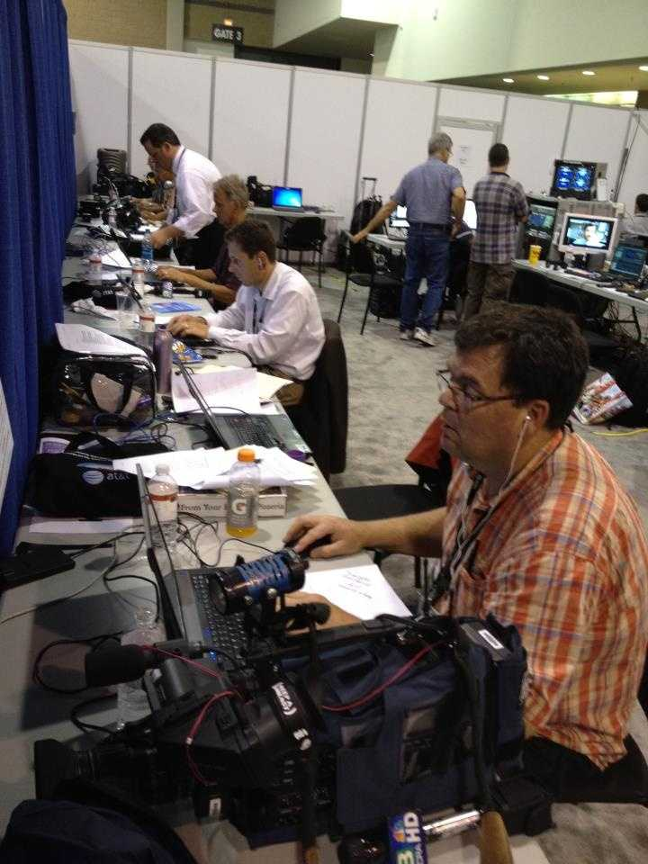 KCRA's David Bienick, Gulstan Dart and photographers John Breedlove and Tom O'Hari in the press room at the Republican National Convention.
