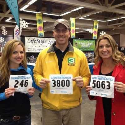 Deirdre, Brian and KCRA morning executive producer Gretchen Littlejohn before the California International Marathon.