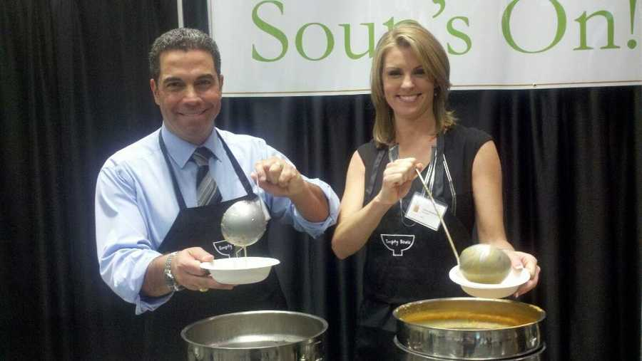 Gulstan Dart and Kellie DeMarco serve up some soup.