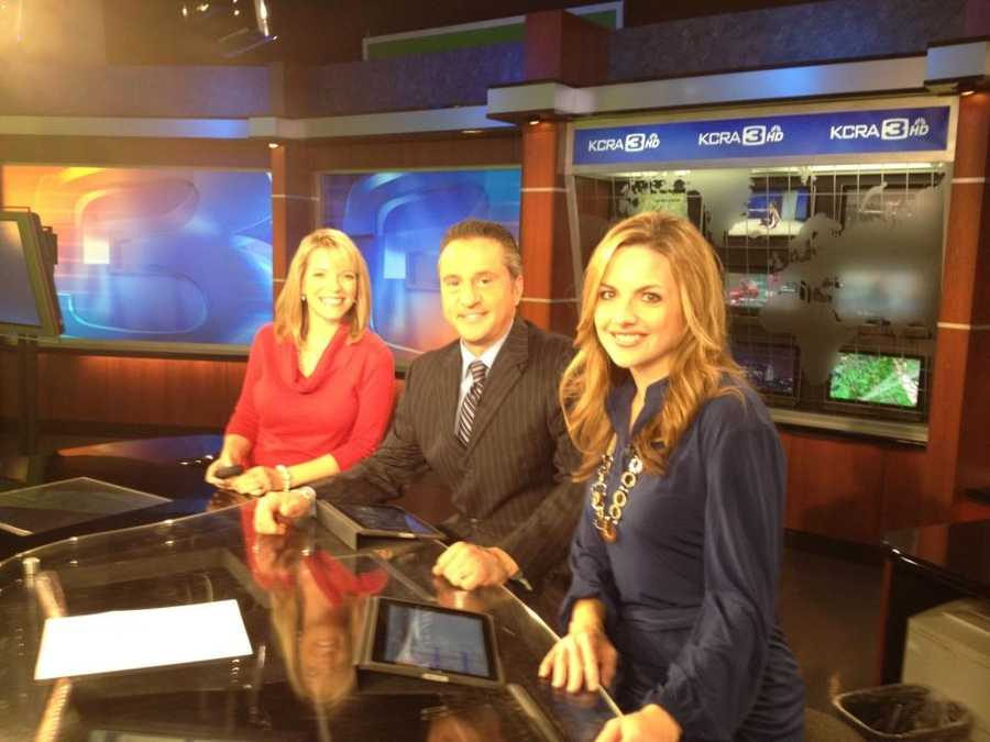 Meteorologist Eileen Javora on set with Teo and Deirdre.