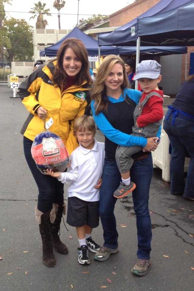 Edie and Deirdre, with Deirdre's two sons, at the annual KCRA Turkey Drive.