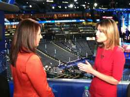 "Edie Lambert speaks with ""Today"" show host Savannah Guthrie at the Democratic National Convention."