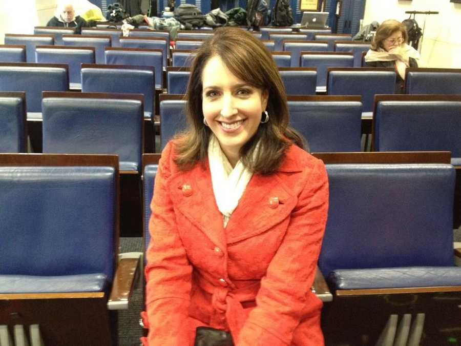 Edie Lambert inside the White House press room.