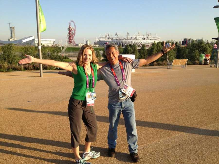 Deirdre and Mike pose outside Olympic Park.