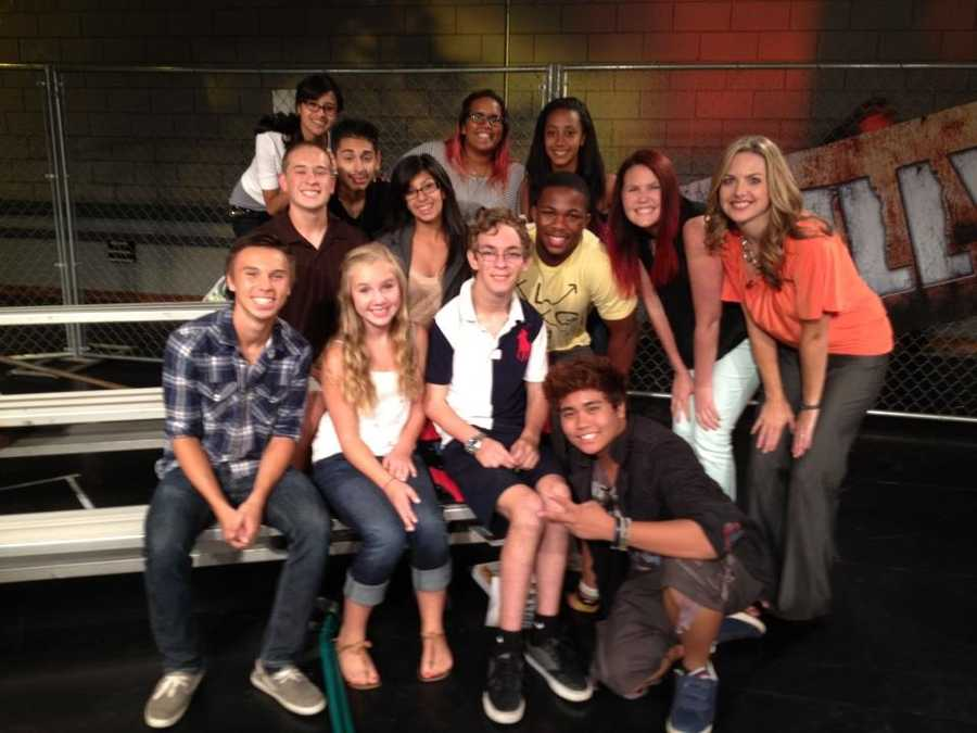 """Deirdre Fitzpatrick with students who participated in KCRA's special """"Bully,"""" which shed light on the issue of bullying in schools."""