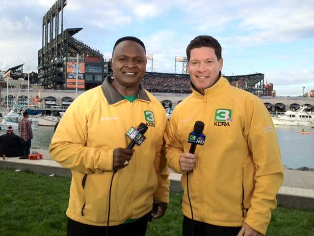 Del Rodgers and Chris Riva in San Francisco before Game 1 of the 2012 World Series.