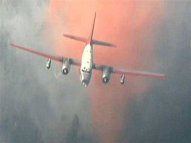 Crews battle the Robbers Fire from above.