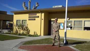 With theConnecticutschool shooting fresh on the minds of many, a former Marine was applauded for voluntarily guarding a school near Modesto. But the praise did not last. AU.S. Marine Corps officials said the man apparently misrepresented his service history. Craig Pusley showed up for a second day of guard duty at Hughson Elementary School, but departed by mid-morning as questions arose about his military background.