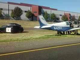 A man test-flying a small plane out of Rio Linda was forced to make an emergency landing on Highway 65 as traffic continued to move along the highway.