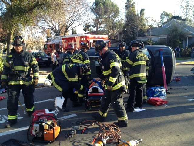 Three people were taken to a Sacramento-area hospital Tuesday after a collision at X and 18th streets, police at the scene told KCRA 3 (Jan. 1, 2013).