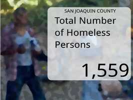 In San Joaquin County, the total number of homeless persons was 1,559.