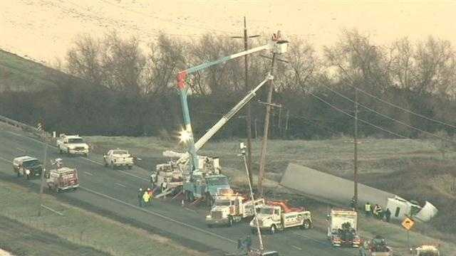 A big-rig crash that knocked down power lines on State Route 99 has shut down the highway near Chico for nearly eight hours.
