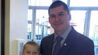 New Stockton Mayor Anthony Silva and his son (Jan. 8, 2013).