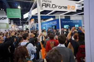 Crowds gathered around thesynchronizeddance of these quad-copters.