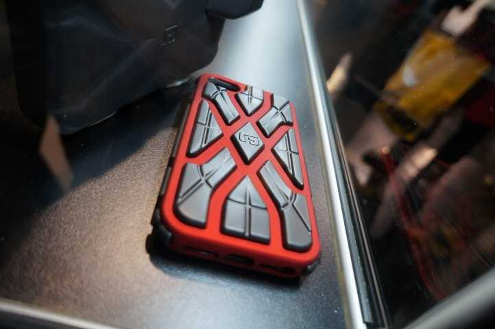 This case is soft, but gets hard when dropped or hit to help protect your device. G-Form is the case maker.