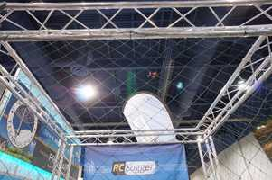 This quad-copter was the smallest we saw at CES. You can barely see it in the photo hovering above the crowd.