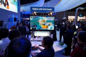 Intel's booth was bathed in blue.