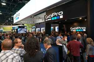 """The constant chanting of """"GoPro"""" by the crowd for free gear was repetitive, but it got the attention of CES attendees."""