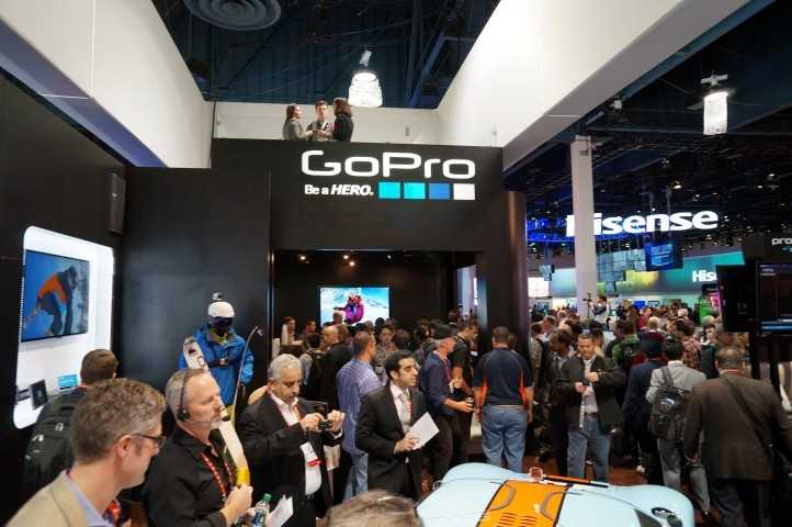 The gathering around the GoPro booth was huge. The company gave away shirts, hats, cameras and, occasionally, a gift bag containing every product the company currently makes.