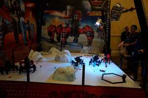 Ready for robot combat? These robots have interchangeable weapons and shoot foam projectiles at each other.