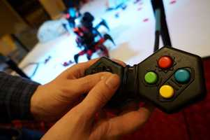 The robots use a simple controller to engage in combat.