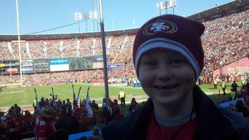 A young 49ers fan at Candlestick Park.