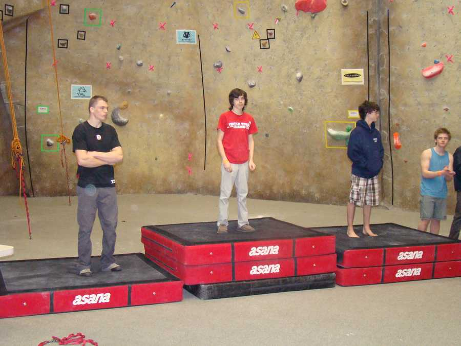 Joseph Diaz (far right) won second place and the opportunity to climb at Nationals in Colorodo.