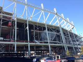 Outside the Georgia Dome, where the Atlanta Falcons will be hosting Sunday's game.