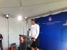 San Francisco 49ers quarterback Colin Kaepernick, who grew up in Turlock, speaks at a news conference in Atlanta on Thursday (Jan. 17, 2013).