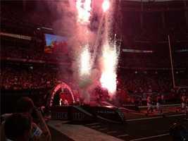 Fireworks as the Atlanta Falcons run onto the field
