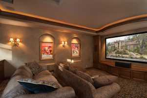 The house features a complete home theater.