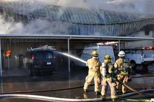 A fire that sparked at Beale Air Force Base on Monday afternoon continues to burn into the evening hours, officials said (Jan. 21, 2013).