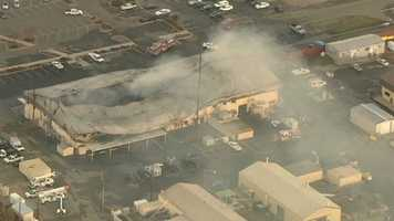 Fire crews continued to fight the blaze Tuesday morning.