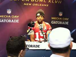 Michael Crabtree at Super Bowl XLVII Media Day. (January 29, 2013)