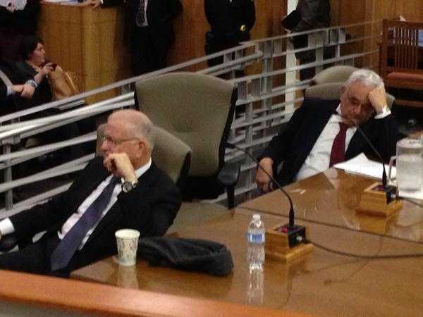 Former senate presidents Perata and Roberti watch a documentary on Stockton's 1989 school shooting.