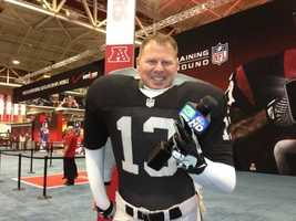 KCRA photographer Alan Blaich having fun at the NFL Experience at Super Bowl XLVII.