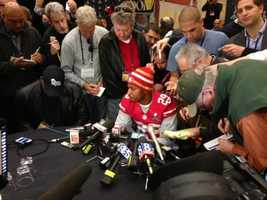 Cornerback Chris Culliver addresses the media in New Orleans on Thursday, three days ahead of the Super Bowl between the San Francisco 49ers and the Baltimore Ravens. He made some controversial comments about gays in the locker room days earlier (Jan. 31, 2013).