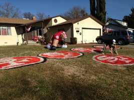 Tony Asaro spray paints the lawn any time the San Francisco 49ers go to the Super Bowl.