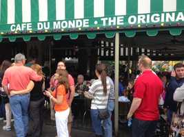 Patrons wait outside this restaurant to get some of the original beignet (Feb. 2, 2013).