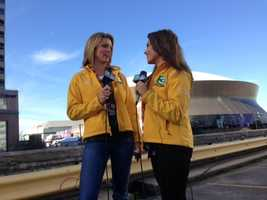 Kellie and Lisa live in front of the Superdome on game day. (Feb. 3, 2013)