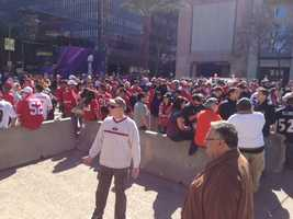49ers fans gather outside the Superdome before Super Bowl XLVII.