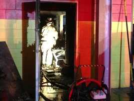 A fire burned through the office of a Volkswagen repair shop early Monday morning.