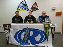 Three Rocklin football players signed letters of intent to compete in college. Dominic Giampaoli signed with Southern Oregon University as a wide receiver, quarterback Daniel Kniffin will be attending CSU Sacramento and Sam Woods will be a defensive tackle at Northern Arizona University.