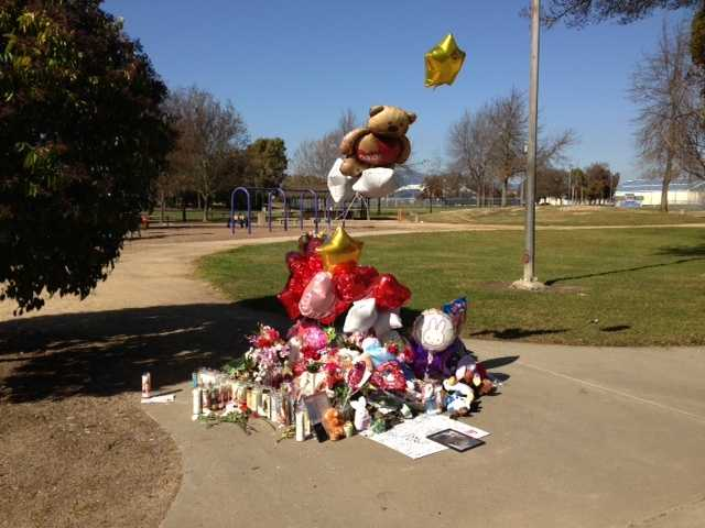 A memorial is set up in Fairfield foGenelle Renee Conway-Allen, whose body was found last week at Allan Witt Park. Genelle was 13 when she died, and a student at a nearby middle school (Feb. 6, 2013).