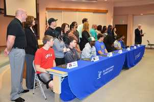 Elk Grove Unified School District senior football players and their families at National Signing Day.