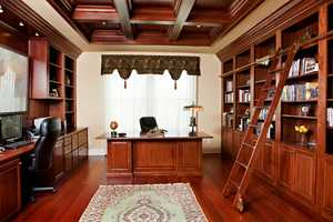 Here's a roomy office inside the home.