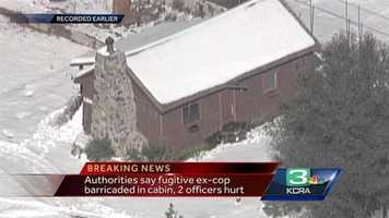"""The cabin in which Christopher Dorner, the suspect in several killings, is supposedly """"pinned down"""" according to law enforcement officials."""