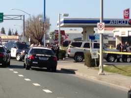 A Stockton police officer opened fire on a suspect who police said assaulted a California Highway Patrol officer on Wednesday.