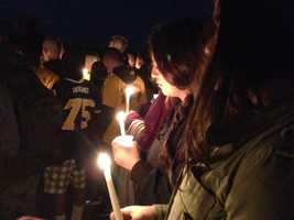 A vigil was held Tuesday night for an Oak Ridge High School freshman football player who died in a sledding accident over the weekend (Feb. 19, 2013).